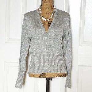 Sweaters - 💥 Silver, metallic sweater/cardigan💥
